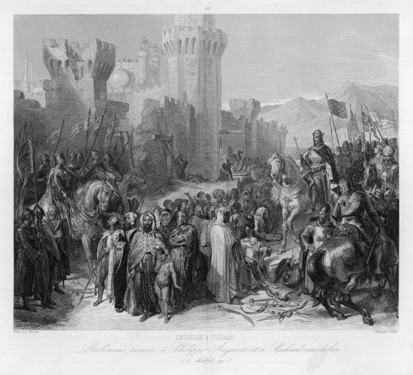 THIRD CRUSADE - Richard I and Philippe II Auguste land at Acre and take the city : Philippe returns to France, Richard advances to Jaffa