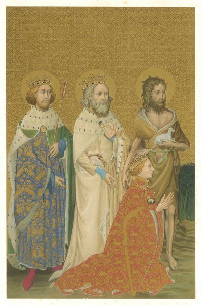 Richard is presented to Mary and Jesus by King/saint Edward the Confessor, king/saint Edmund, and John the Baptist. (left-hand panel)