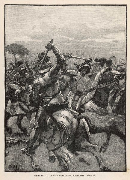 Richard III fights on horseback during the Battle of Bosworth