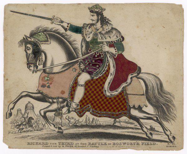 KING RICHARD III OF ENGLAND depicted at the fatal battle of Bosworth Field - a splendidly stylised depiction showing the doomed monarch desperate yet determined