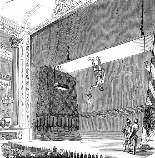 Engraving showing Richard Sands (d.1861), the American acrobat, equestrian and 'air walker', performing at Drury Lane Theatre, London, March 1853