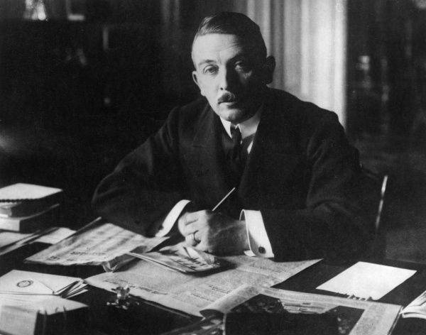 Richard von Kuhlmann (1873-1948), German diplomat and industrialist. Seen here at his desk, probably at the time he served as German Foreign Secretary. Date: circa 1917-1918