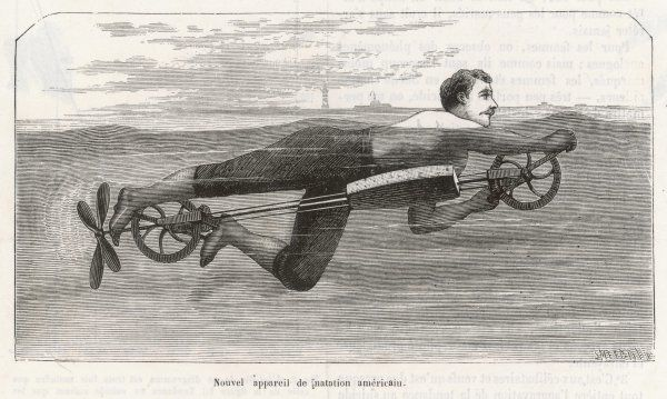 Richardson's swimming device allows one to sally forth by pedalling a propellor underwater