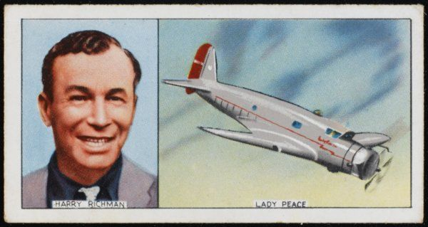 Harry Richman, American aviator and actor, and his Lady Peace plane: he advocated flying at high altitudes