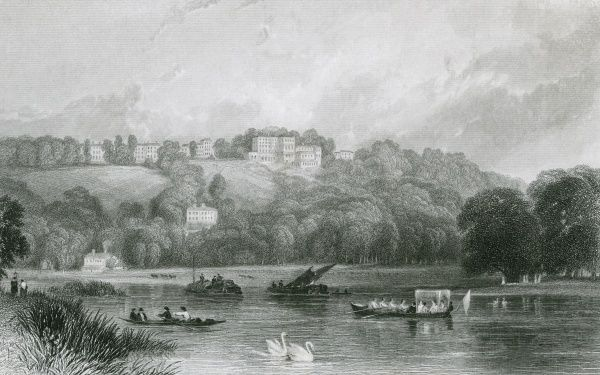 Distant view of Richmond Hill, viewed from the Thames just above the bridge -- pleasure boats and barges share the river with the swans. Date: circa 1835