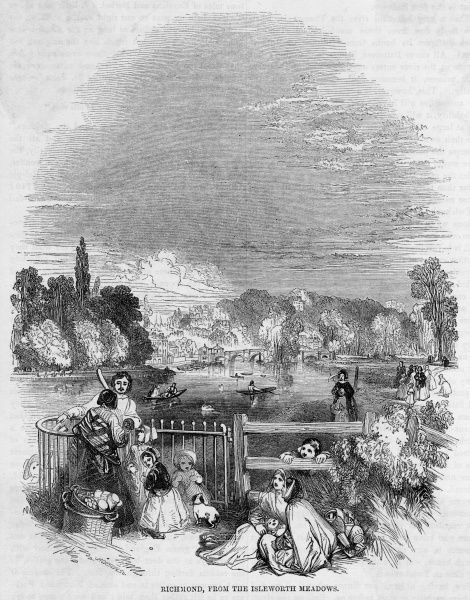 Holidaymakers at Richmond, Surrey (now in the London Borough of Richmond), viewed from the Isleworth Meadows