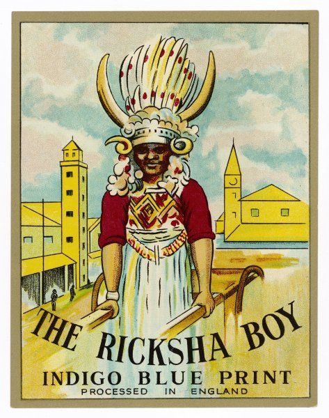 Ricksha Boy - in traditional plumed headdress - on a product label