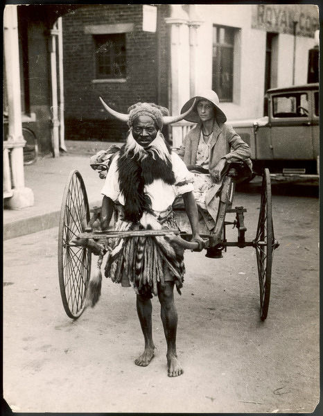A horned Rickshaw man in Bulawayo, Southern Rhodesia (now Zimbabwe)