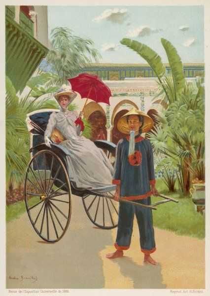 A lady travels in a 'pousse- pousse' (= push-push) from Indo-China (Vietnam)