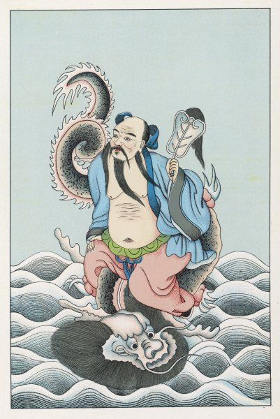 The Chinese deity Han Tchong- li rides a sea creature across the waves