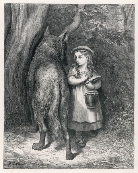 She meets the wolf in the wood