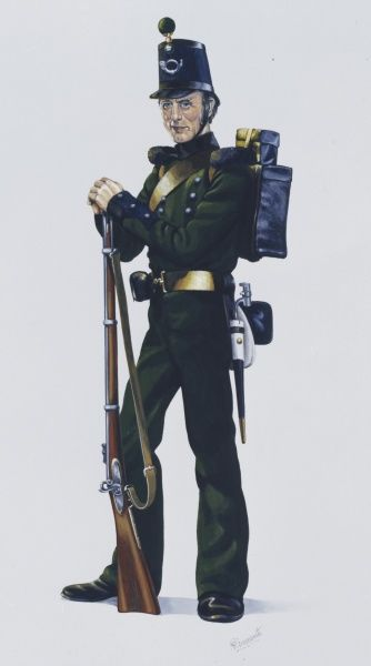Rifleman of 95th (Rifles) Regiment of Foot at the time of the Crimean War. This regiment became the Rifle Brigade which changed to the 3rd Green Jackets (The Rifle Brigade) and in 1966 became The Royal Green Jackets