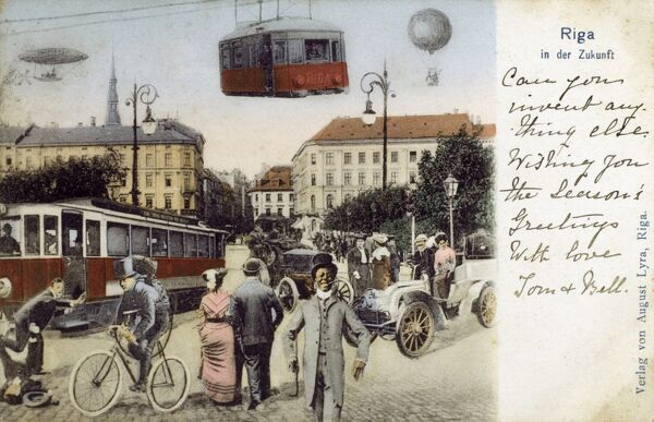 Riga, Latvia - Complete fantasy card, featuring a cable car, an airship, a tram, a hot air balloon, an early motorcar, a policeman on a bicycle and a jolly black man in a suit smoking a cigar.... Date: circa 1904