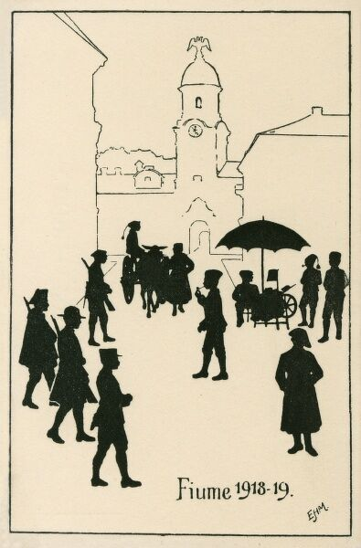An interesting postcard with silhouettes and line drawings, showing Rijeka (Fiume) just after WWI (1918-19) with street sellers, soldiers and some young lads
