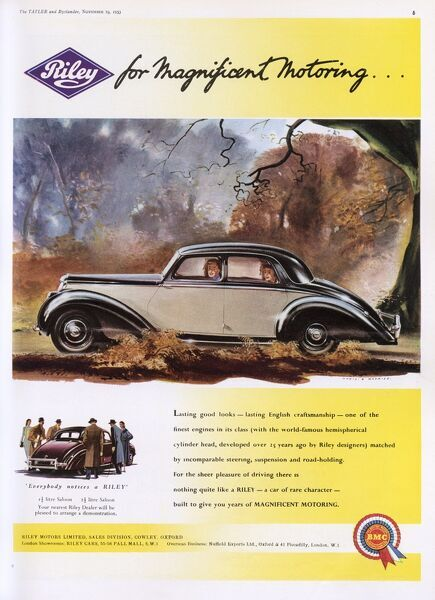 Advertisement for Riley Motors showing a family driving in one of their saloon cars along a very remote and rather scary looking road. Date: 1953