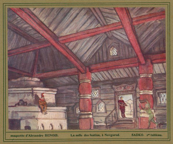 Scene one : the hall at Novgorod where the merchants are holding a banquet