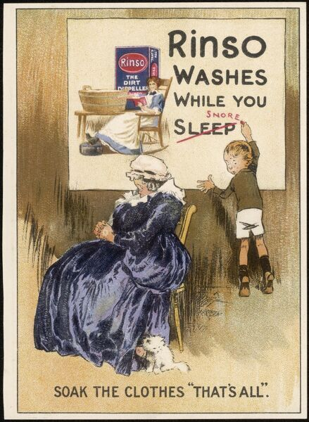 RINSO washes while you sleep (snore !) - soak the clothes, that's all. (Made by Hudson's)