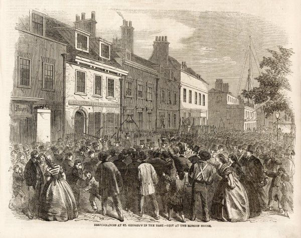 Crowds riot outside the Mission House over the closure of St George's in the East church