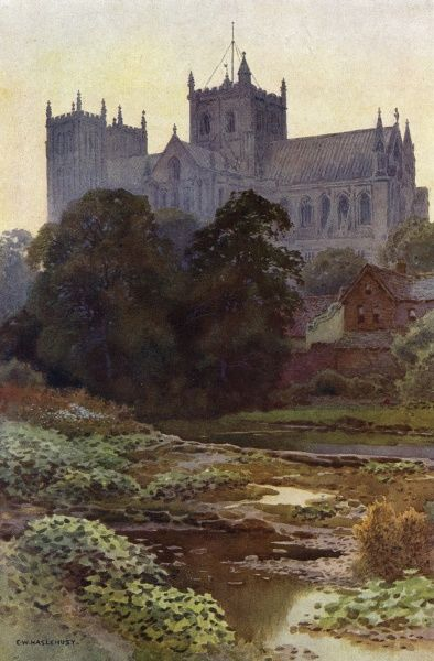 A distant viuew of Ripon Minster, Yorkshire, from the river Date: circa 1909