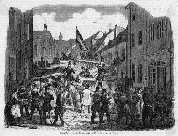 Street fighting in Altenberg - a barricade raised by the insurgents