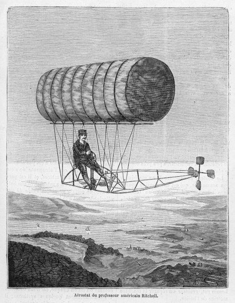 RITCHELL'S FLYING MACHINE : the inventor demonstrates his neat device at Hartford, Connecticut, though I doubt if he flew as high as this !