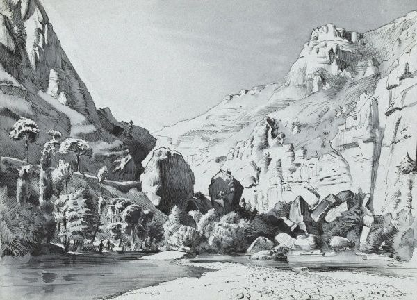 A river flowing through a steep-sided rocky valley. Pen and ink drawing by Raymond Sheppard