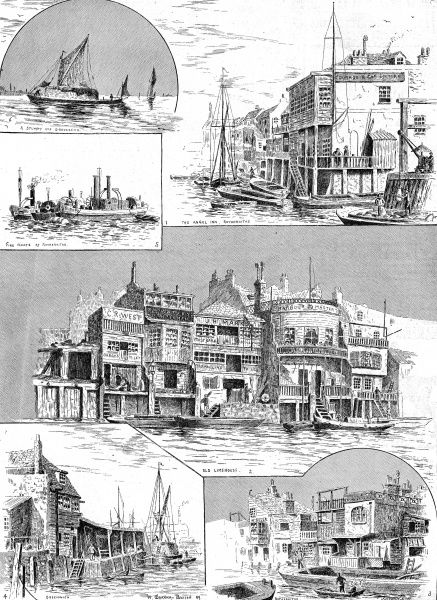 Engraving showing a number of scenes along the River Thames from Gravesend to Rotherhithe, London, 1890