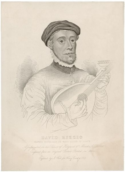 DAVID RIZZIO Italian musician. Favourite & foreign secretary of Mary Queen of Scots. He arranged her marriage with Darnley