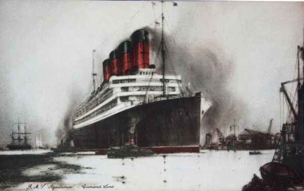 The RMS Aquitania, White Star Line passenger liner. 901 feet long, 45,647 tonnes. Scrapped in 1950