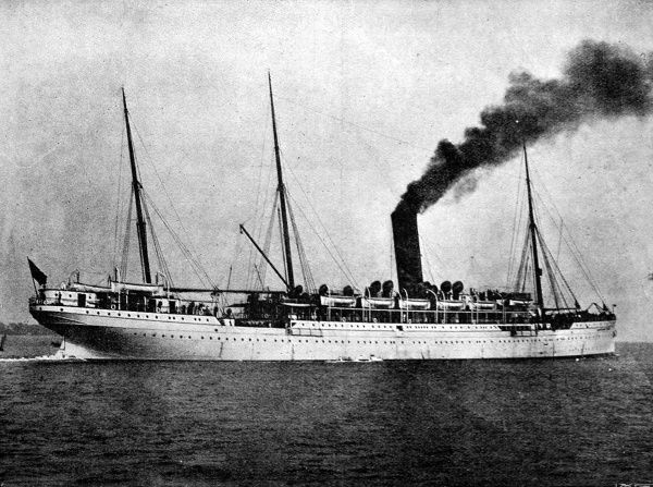 Photograph of the Castle Line Mail Steamship 'Carisbrook Castle', shortly after her launch in 1898. Built by the Fairfield Shipbuilding Company on the Clyde, she was 500 foot in length, with a registered tonnage of 7626 tons
