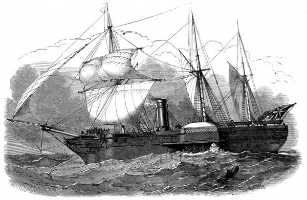 Engraving of the Royal Mail Steam-Packet Company's paddle-steamer 'Forth&#39