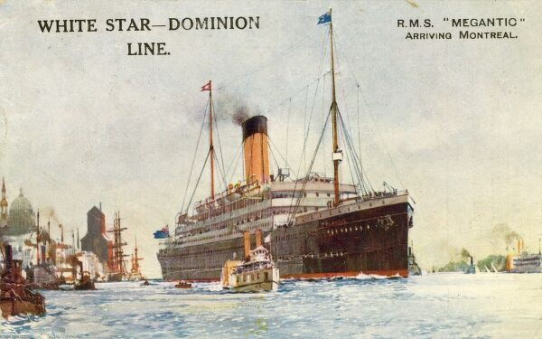 White Star - Dominion Line Liner RMS Megantic arriving at Montreal, Canada. Held the record for he Canadian Atlantic run. Date: 1921