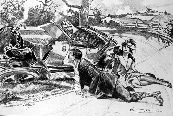 Humorous sketch of a road crash in which a glamourous lady and gentlemen sit beside their ditched car, with the gentleman proclaiming to the car's tax disc, 'Expiring December 31st..Liar!&#39