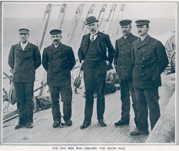 First men to reach the South Pole; from left to right: Sverre Hassel, Oscar Wisting, Roald Amundsen, Olaf Bjaalund and Helmer Hansen. This picture shows the explorers aboard the expedition ship 'Fram' at Hobart, Tasmania, 1912