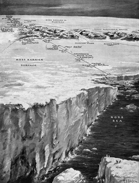 Illustration showing the route taken by Roald Amundsen's Antarctic Expedition of 1910-12, from their base at 'Framheim' on the Ross Sea to the South Pole in 1911. Date: 1912