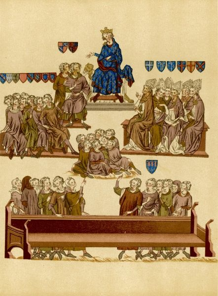 The trial of Robert III, comte d'Artois, involving warring factions among the French nobility ; after an unsuccessful rising, Robert fled to England