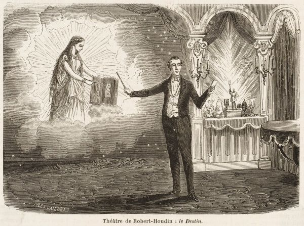 Robert Houdin, the French stage magician, performing a trick