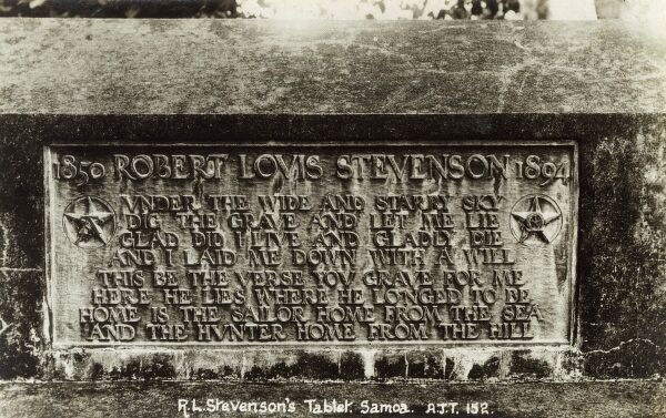 The grave of Robert Louis Stevenson (1850-1894) on Mount Vaea in Western Samoa (bearing a self-penned engraved epitaph). Date: circa 1920s