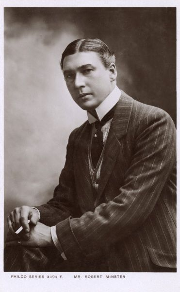Robert Minster - British Actor wearing a fine pinstripe suit, monacle and stiffly-starched Gladstone collar. Date: 1900