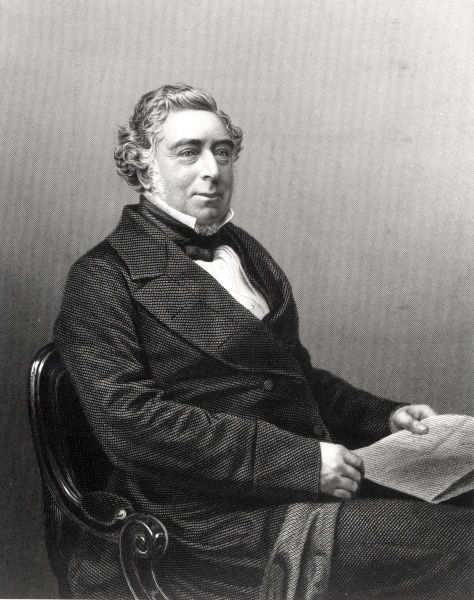 Portrait of Robert Stephenson (1803-1859) was an English civil engineer, son of George Stephenson, who first built the locomotive. Robert built Britannia Bridge on Menai Straits