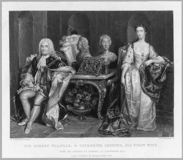 Sir Robert Walpole and his first wife, Catherine Shorter; he is dressed formally in his state robes while she wears a simple if clearly fine indoor gown
