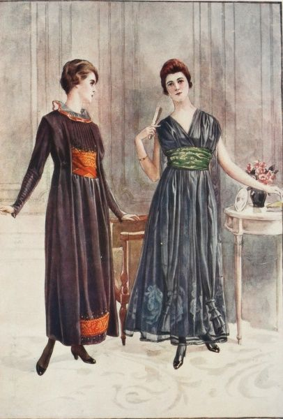 Two models wearing the latest Parisian fashions for afternoon gowns during the World War I period
