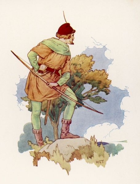 Robin Hood keeping a lookout for his enemy, Guy of Gisbourne, from a safe distance