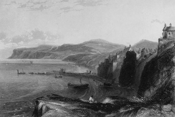 Robin Hood's Bay, Yorkshire, viewed from the cliff top. Date: circa 1840