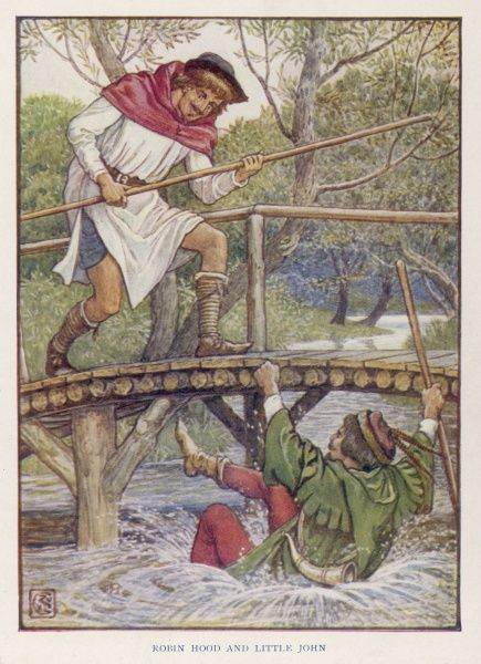 The first unpromising encounter between Robin Hood and Little John, when Little John thows Robin off the bridge into the river!