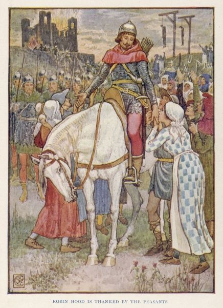 Robin Hood, in armour and on horseback, is thanked by the peasants for rescuing them from oppression