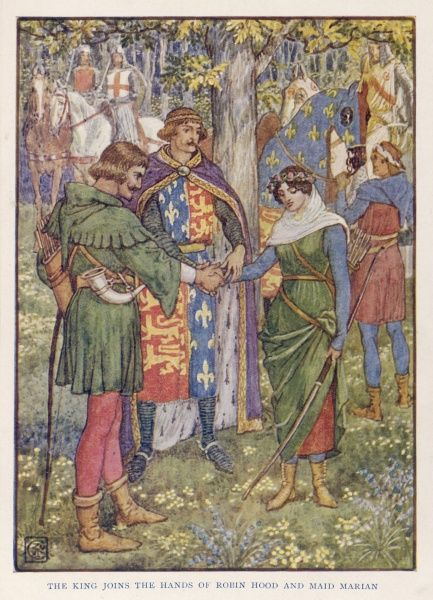 King Richard I joins the hands of Robin Hood and Maid Marian in marriage