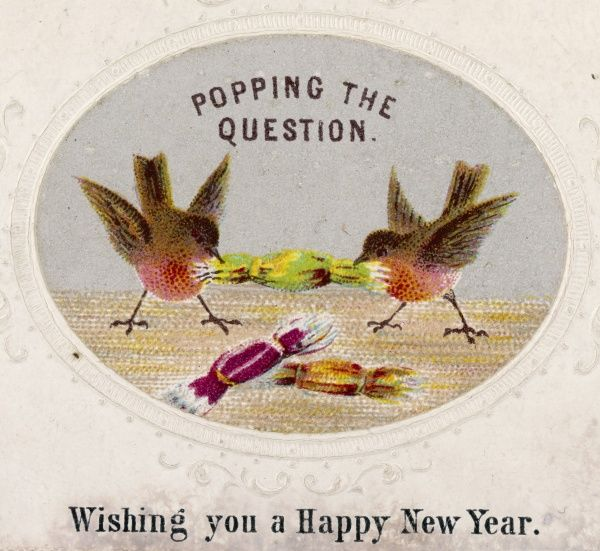 Two robins pull a cracker - a very early Christmas card