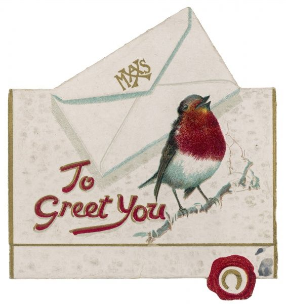 'To Greet You' - Robin on card with envelope