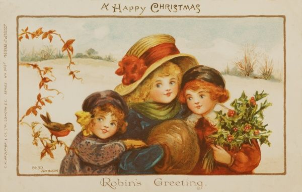 Robin's Greeting by Ethel Parkinson -- three children stop to receive a Christmas Greeting from a robin perched on a branch
